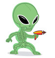Little Alien with Ray Gun vector image