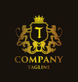 luxury letter t logo vector image vector image