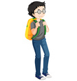 Man with yellow backpack vector image vector image
