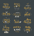 merry christmas calligraphic letterings set vector image vector image