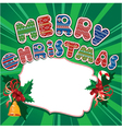 Merry Christmas Card with holly leafs and berries vector image vector image