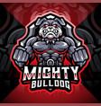 mighty bulldog esport mascot logo design vector image vector image
