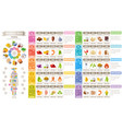 mineral vitamin suppliment food icons healthy vector image vector image