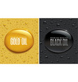 oil drops background -golden and black vector image