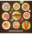 Poster With Seafood Dishes Set vector image vector image