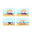 relaxation on beach semi flat set vector image