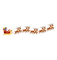 santa claus in sleigh with reindeers on on white vector image vector image