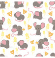 seamless pattern funny cute little happy mice vector image