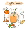 Sketch Pimpkin smoothie recipe vector image vector image