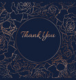 thank you card template rose peony flowers bloom vector image vector image