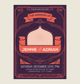 vintage art deco wedding invitation card vector image
