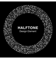 White Abstract Halftone Circle on black background vector image vector image