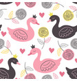 white seamless pattern with rose and princess swan vector image vector image