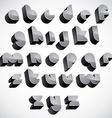 3d futuristic font geometric dimensional letters vector image vector image