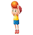 A young boy playing basketball vector image vector image