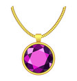 amethyst necklace icon realistic style vector image