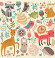 animal forest pattern vector image vector image