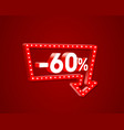 banner 60 off with share discount percentage neon vector image vector image