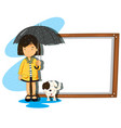 banner template with girl and dog in the rain vector image vector image
