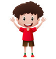boy in red shirt smiling vector image vector image