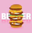 burger pink vector image vector image