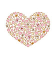 cartoon heart from pink heart notes stars vector image vector image