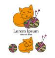 cat knitter cartoon animal vector image
