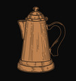 coffee maker in engraving style design element vector image vector image