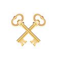 crossed golden keys isolated on white background vector image vector image