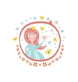 Crowned Princess Fairy Tale Character Girly vector image