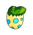 cute dino kid exit from cracked dotted eggshell vector image
