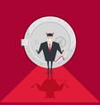 devil businessman standing in front of a safe door vector image vector image