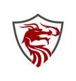 dragon shield protection logo design mascot vector image