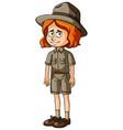 female zookeeper in brown uniform vector image