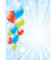 festive balloons and lightburst vector image vector image