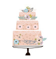 floral cake with unusual flowers and branches on vector image