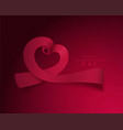 for valentines day heart ribbons vector image vector image