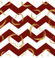 Golden sketch hearts seamless pattern zig zag red vector image vector image