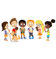group cheerful kids with ice cream vector image vector image