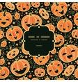 Halloween pumpkins frame seamless pattern vector image