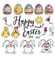 hand drawn set of easter design elements perfect vector image vector image
