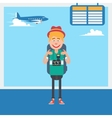 Happy Tourist Waiting to Departure in Airport vector image