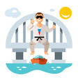 jumper from the bridge flat style colorful vector image vector image
