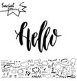 lettering and symbols on social media element vector image
