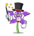 magician columbine flower mascot cartoon vector image