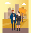 man and woman couple walking in autumn park city vector image vector image