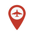 map pointer with airplane icon vector image
