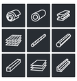 Metallurgy products icons collection vector image vector image