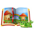 mushroom house scene in the book and frog vector image