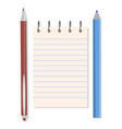 notebook pen and pencil vector image vector image